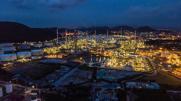 Oil refinery industry at night