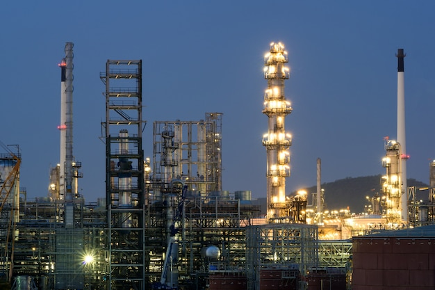 Oil refinery industry or petroleum industry with oil storage tank in chonburi, thailand.