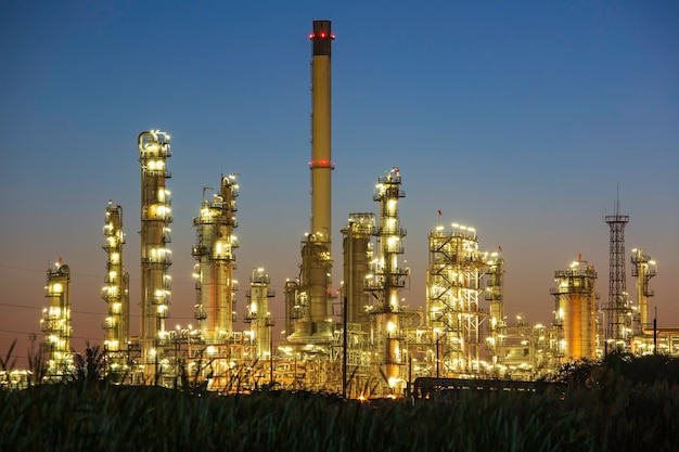 Oil refinery morning and  plant and tower column of petrochemistry industry in oil