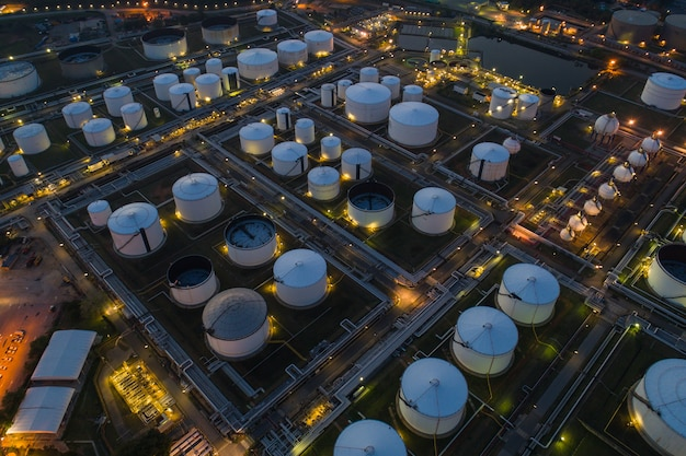 Oil refinery and oil tank storage and chemical plant from air bird eye view