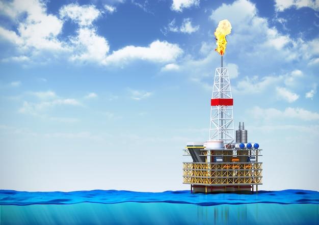 海の石油リグ掘削プラットフォーム