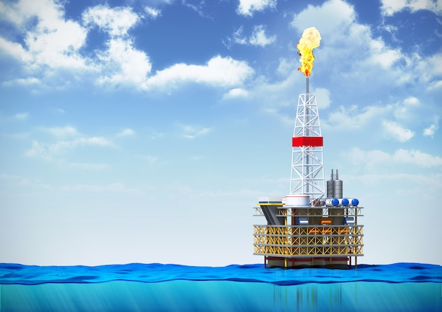 Oil rig drilling platform in ocean