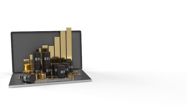 The oil thanks and chart on  laptop 3d rendering for  petroleum  content.