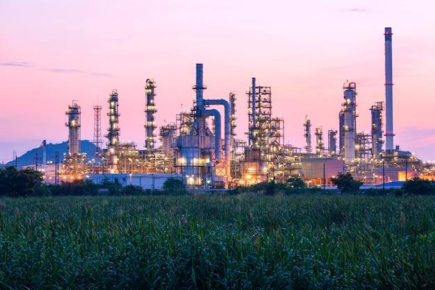 Нефтеперерабатывающий завод и завод и башня колонны нефтехимической промышленности в нефтяной и газовой промышленности с красным облаком небо утро перед фоновой травой