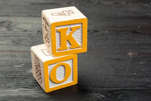 Ok word written in wooden cube