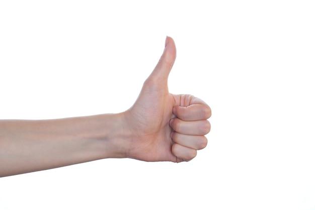 좋아, 좋은 슈퍼 첫 번째 유효성 검사 긍정적 인 행복 개념을 수락하십시오. 측면 프로필은 흰 벽 복사 공간에 고립 엄지 손가락 최대보기를 닫습니다.