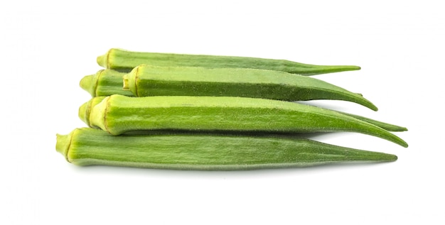 Okra isolate on the white background, healthy food