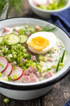オクローシカ。ロシア料理の伝統的な料理。きゅうり、大根、卵、ディル入りの夏の軽い冷たいスープ。素朴なスタイル。閉じる。