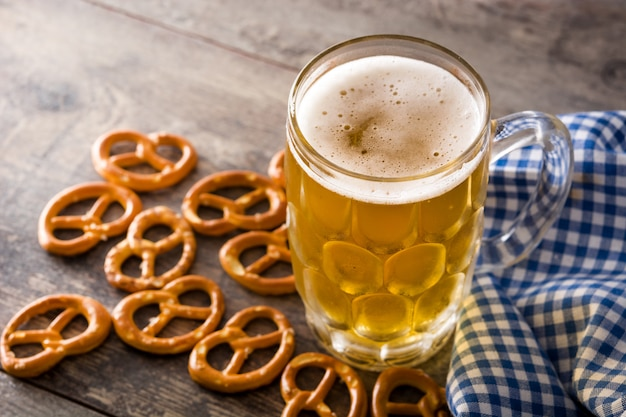 Oktoberfest beer and pretzel close up