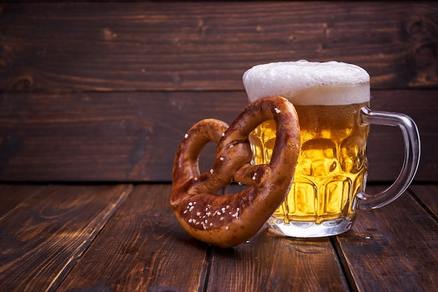 Oktoberfest food on wooden background