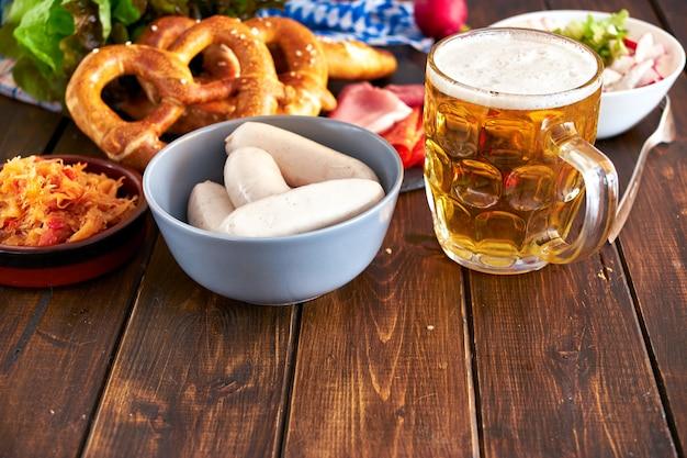 Oktoberfest food on wooden table