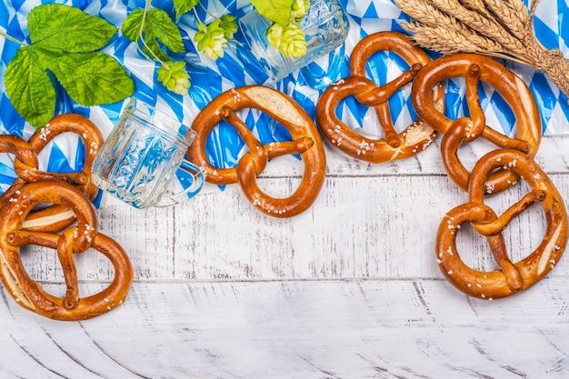 Oktoberfest salted pretzels on white