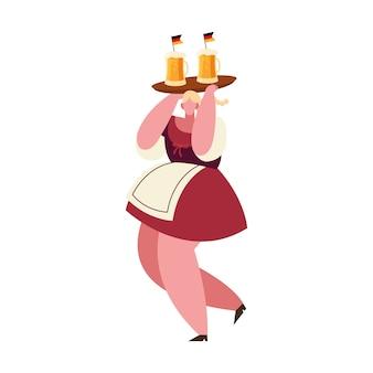 Октоберфест женщина мультфильм с дизайном пивных бокалов, германия фестиваль и тема празднования вектор