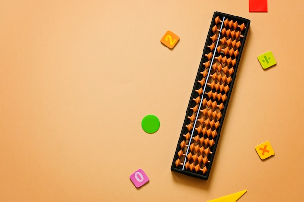 Old abacus with numbers. mental mathematics, arithmetic, math concept.