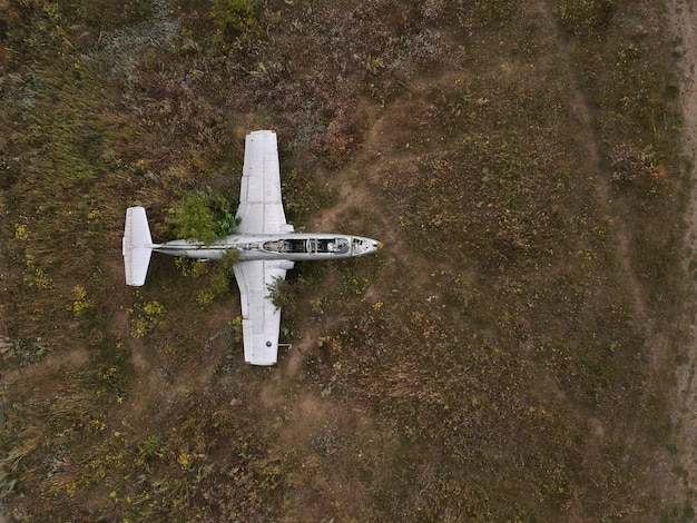 Old abandoned airfield with an abandoned plane