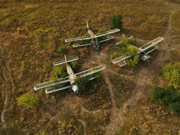Old abandoned airfield with an abandoned planes