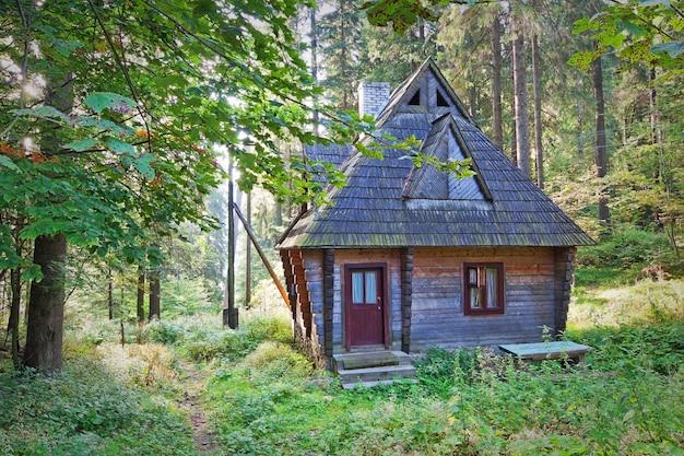 Старый заброшенный деревянный дом леса.