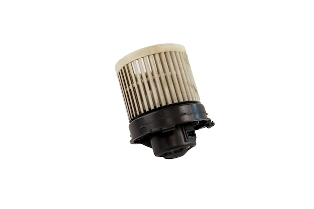 Old air car blower motor isolated on white background. old dirty air blower fan motor of car isolated. save with clipping path