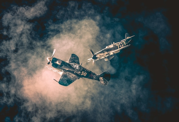Old air combat in the clouds