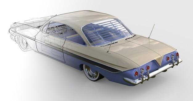 좋은 상태의 오래된 미국 자동차. 3d 렌더링.