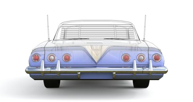 모델의 기술적 윤곽과 결합된 오래된 미국 자동차 3차원 컴퓨터 일러스트레이션. 3d 렌더링.