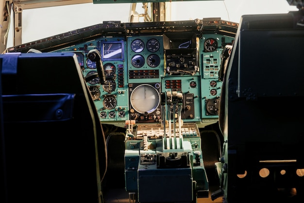 Old analog cockpit of the plane