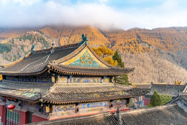 The old ancient buddhist temple in chinese mountains