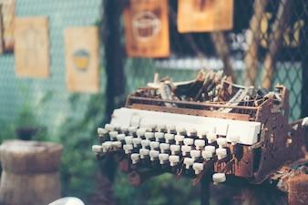Old and worn typewriter