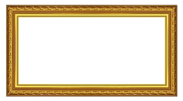 흰색 배경 위에 오래 된 골동품 골드 프레임