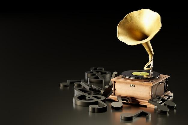 古いアンティークの蓄音機または蓄音機と暗い黒の背景の黒の音符。人気の神話音楽プレーヤーです。巻き上げで動作します。音楽と美学の概念。 3dイラスト。