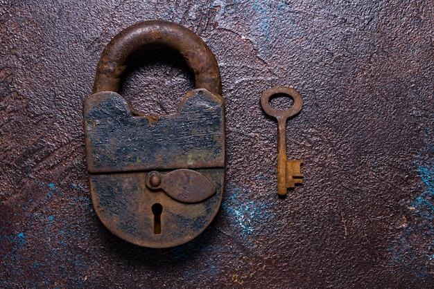Old, antique rustic padlock