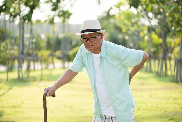 公園を歩いて、背中の痛みを持つ古いアジア人