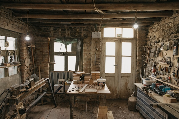 Old atelier and tools of a carpenter
