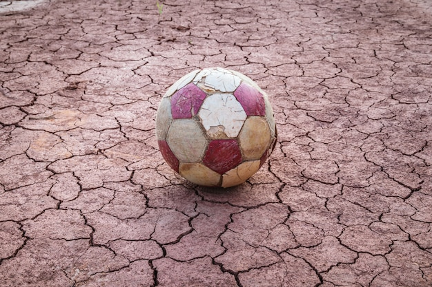 Old ball football on drought