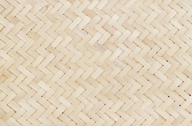 古い竹織りパターン、織り籐マットテクスチャ背景。