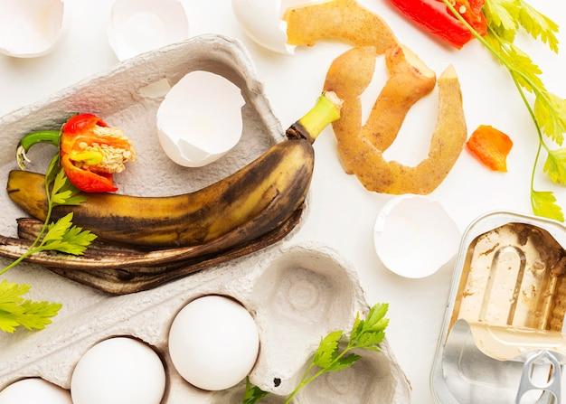 Old banana peel leftovers top view