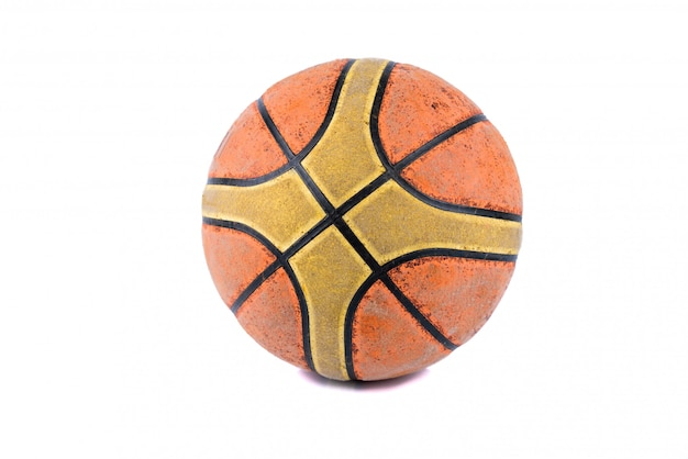 Old basketball on white