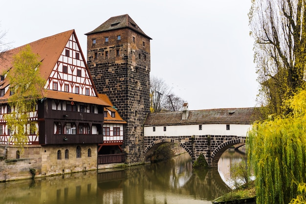 Old bavarian city nuremberg germany, historical old town with view of weinstadel,