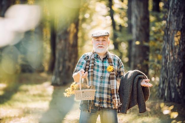 Old bearded man outdoors aged man pick flowers in basket elderly male walk in forest rest in forest ...