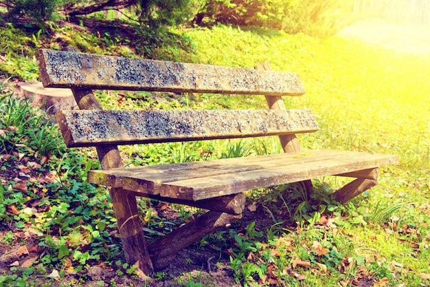 夏の公園の古いベンチ。