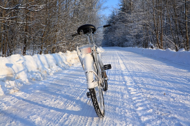 Old bicycle on winter to road