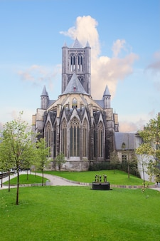 Old biulding of saint bavo cathedral, ghent, belgium