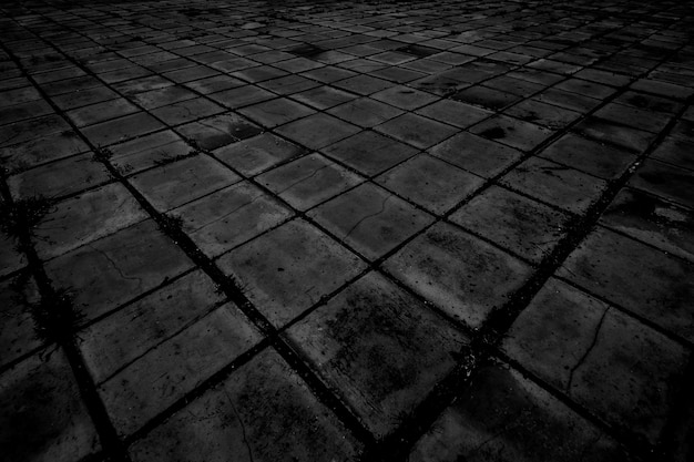Старый черный кирпичный пол текстуры фона.