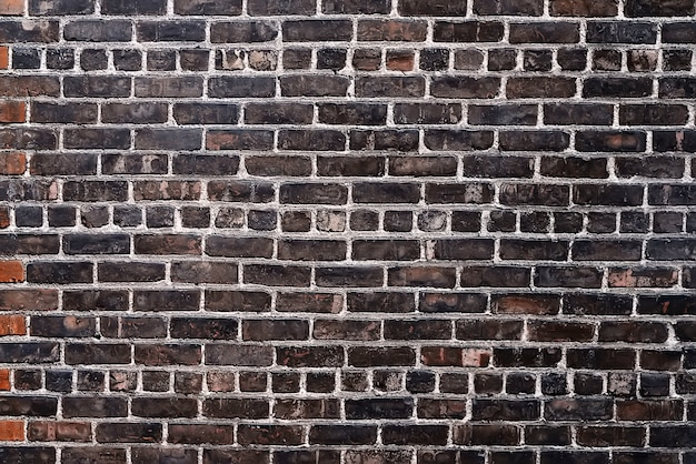 Old black brick wall background texture