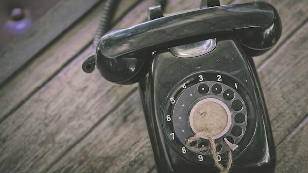Old black desk telephone