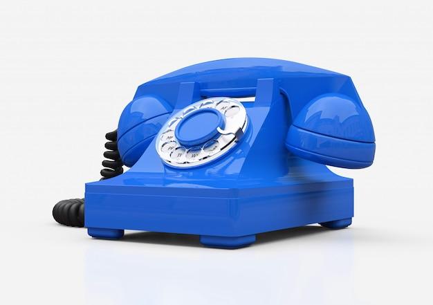 흰색 배경에 오래 된 블루 다이얼 전화입니다. 3d 그림.