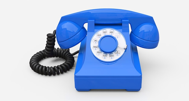 Old blue dial telephone on a white background. 3d illustration.