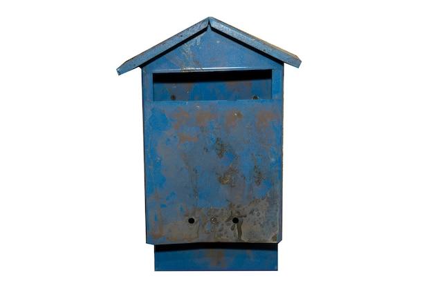 흰색 배경에 고립 된 오래 된 파란색 사서함