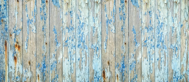 Old blue wood texture background. dirty rustic wooden backdrop.horizontal banner