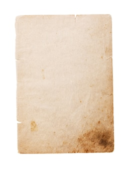 Old book page yellowed with time isolated on white background